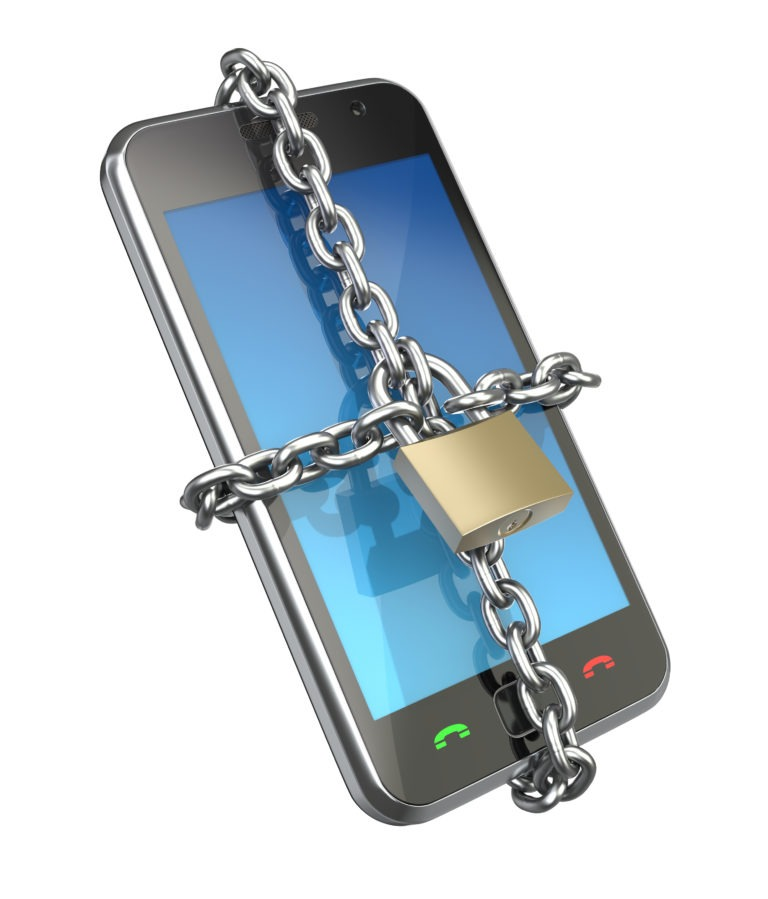 mobile phone with chain and padlock